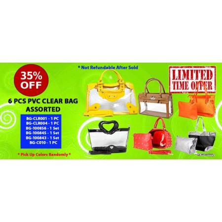 Discount Package: 35% off ( 6 PC ) Assortment PVC Clear Bag - PROMO-PVC6