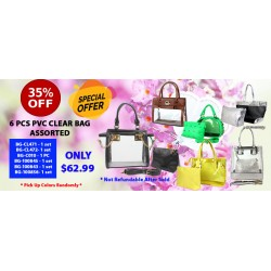 35% off (6 PC) Assortment  PVC Clear Bag
