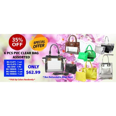 Discount Package: 35% off ( 6 PC ) Assortment PVC Clear Bag - PROMO-PVC7