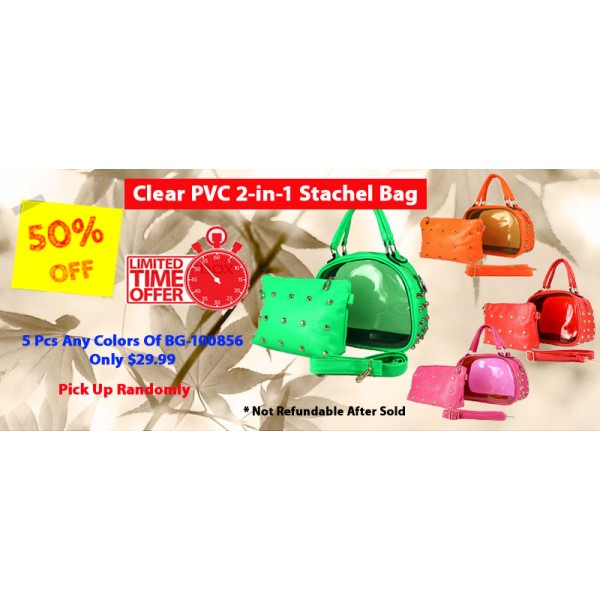Discount Package: 50% off (5 set) Assortment Clear PVC 2-in-1 Satchel Bags - BG-100856-5