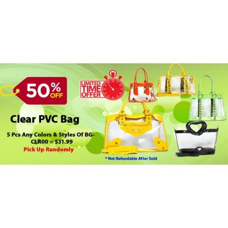 Discount Package: 50% off (5 pcs) Assortment Clear PVC  Bags - BG-CLR00-5