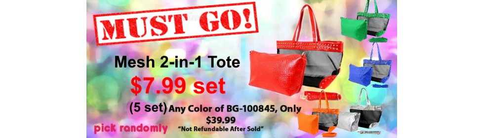 50% off (5 set) Assortment Mesh 2-in-1 Totes