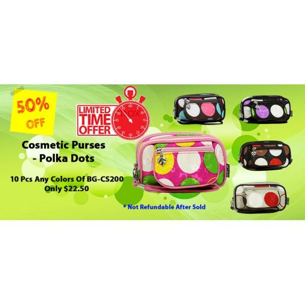 Discount Package: 50% off ( 10 PC) Assortment Cosmetic Purses - Polka Dots -  BG-CS200-10