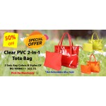 Discount Package: 50% off (3 set) Assortment Clear PVC  2-in-1 Tote Bags - BG-100843-3