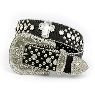 Belt - Rhinestone Leather Belt - Croc Embossed w/ Cross Charms - Black Color - BLT-CRS149CBBK