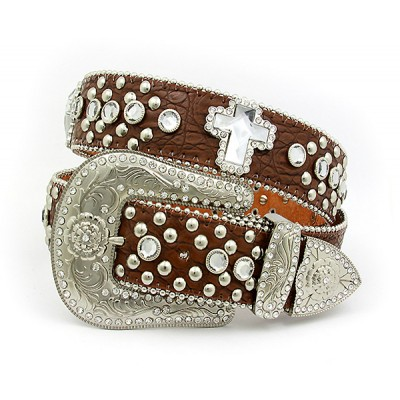 Belt - Rhinestone Leather Belt - Croc Embossed w/ Cross Charms - Brown Color - BLT-CRS149CBBR