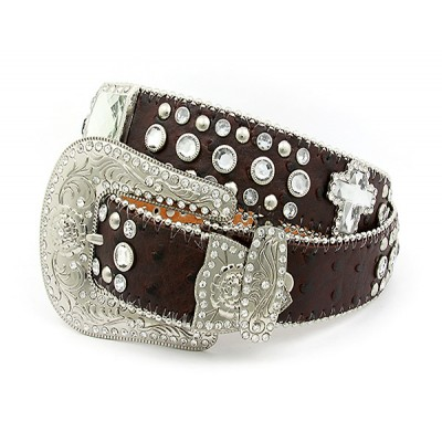 Belt - Rhinestone Leather Belt - Ostrich Embossed w/ Cross Charms - Coffee Color - BLT-CRS150TNCOF
