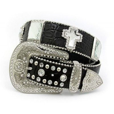 Belt - Rhinestone Leather Belt - Croc Embossed w/ Cross Charms - Black Color - BLT-CRS151CBK