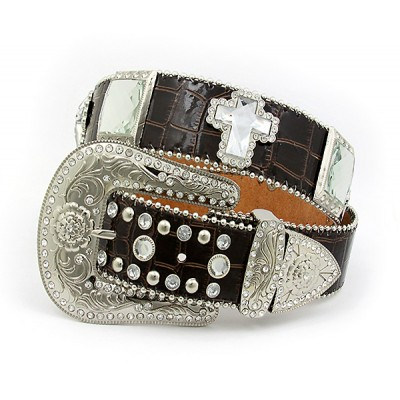 Belt - Rhinestone Leather Belt - Croc Embossed w/ Cross Charms - Brown Color - BLT-CRS151CBR