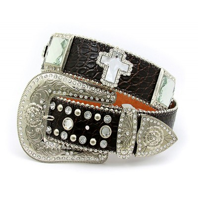 Belt - Rhinestone Leather Belt - Croc Embossed w/ Cross Charms - Coffee Color - BLT-CRS151CCOF