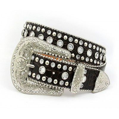 Belt - Rhinestone Split Leather Belts - Croc Embossed - Coffee