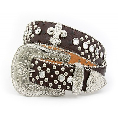 Belt - Rhinestone Leather Belt - Ostrich Embossed w/ Fleur De Lis Charms - Coffee Color - BLT-FDL152TNCOF