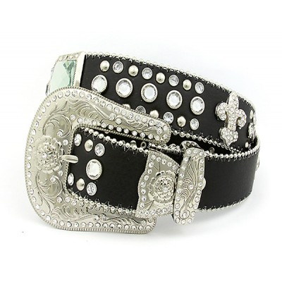 Belt - Rhinestone Leather Belt - Fleur De Lis Charms - Black Color - BLT-FDL153BK