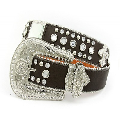 Belt - Rhinestone Leather Belt - Fleur De Lis Charms - Coffee Color - BLT-FDL153COF