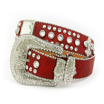 Belt - Rhinestone Leather Belt - Fleur De Lis Charms - Red Color - BLT-FDL153RD