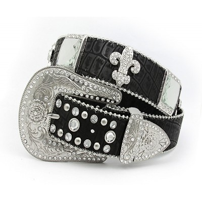 Belt - Rhinestone Leather Belt - Croc Embossed w/ Fleur De Lis Charms - Black Color - BLT-FDL154CBBK