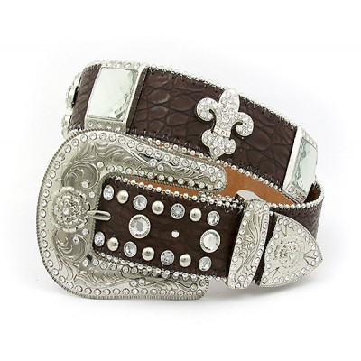 Belt - Rhinestone Leather Belt - Croc Embossed w/ Fleur De Lis Charms - Coffee Color - BLT-FDL154CBCOF