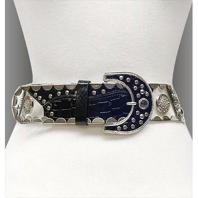 Belt - Studed Belt W/Clear PVC + PU leather - Like - Black - BLT-TO40168/BK