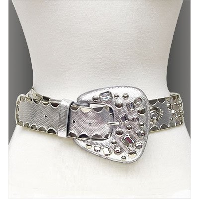Belt - Studed Belt W/Clear PVC + PU leather - Like - Silver - BLT-TO40168/SV