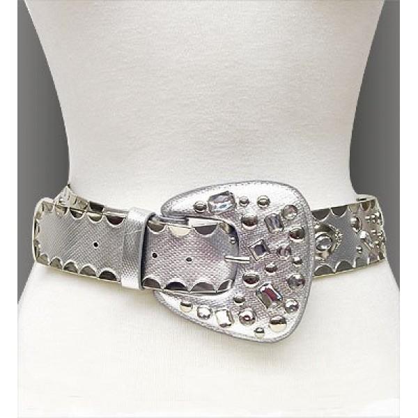 Belt - Studed Metallic Belt - Silver - BLT-TO40169/SV