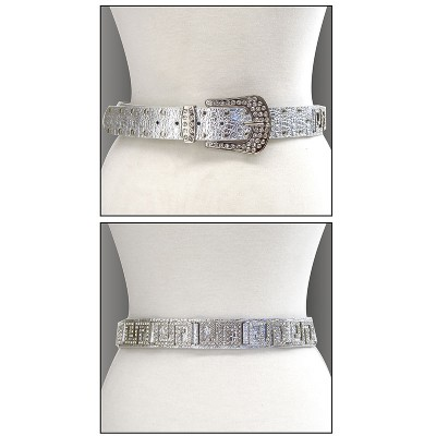Belt - Rhinestone Leather - Like Belt - Silver Color - BLT-TO40201S