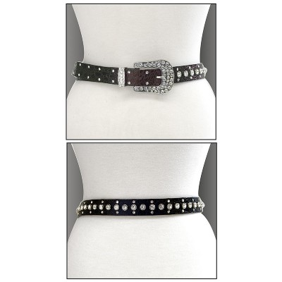 Belt - Rhinestone Leather - Like Belt - Brown Color - BLT-TO40212BR