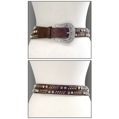 Belt - Rhinestone Leather - Like Belt - Brown Color - BLT-TO40215BR