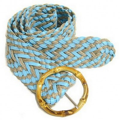 Braided PU Leather & Linen Belt w/ Bamboo Buckle - BLT-BE042TQ