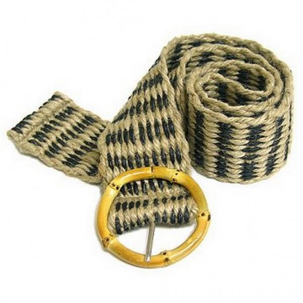 Jute Woven Belt w/ Bamboo Buckle - Black - Size = ML - BLT-BE100BK-ML