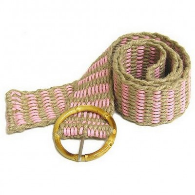 Jute Woven Belt w/ Bamboo Buckle - Pink - Size = ML - BLT-BE100PK-ML