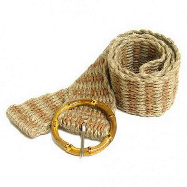 Jute Woven Belt w/ Bamboo Buckle - Tan - Size = ML - BLT-BE100TN-ML