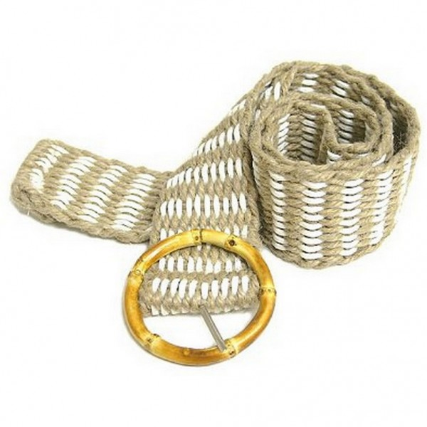 Jute Woven Belt w/ Bamboo Buckle - White - Size = ML - BLT-BE100WT-ML