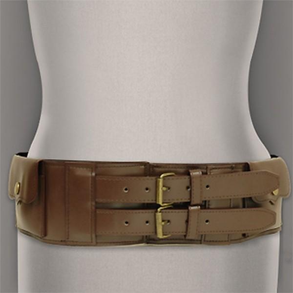 Belt - Double Pockets Elastic Belt - Brown - BLT-BE129BR