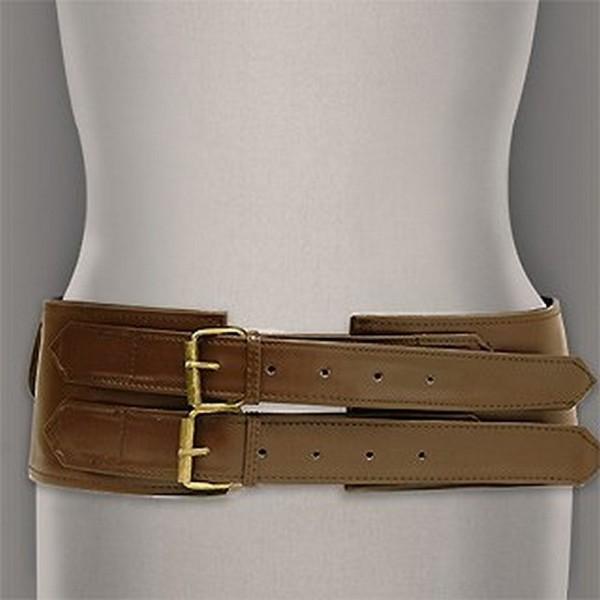 Belt - Double Pockets Soft Leather-Like Belt - Brown - BLT-BE133BR
