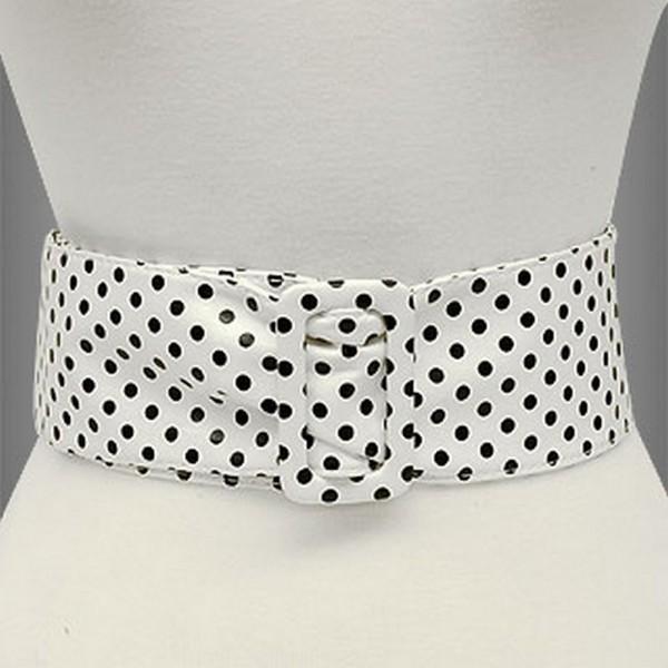 Belt - Polka Dots - Soft PU - White - Size : ML - BLT-BE140WT-ML