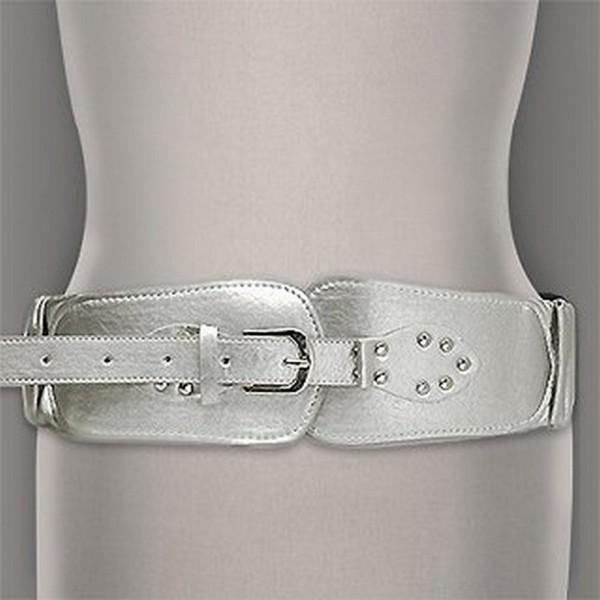 Belt - Elastic Belt - Metallic Leather-Like - Silver - BLT-BE143SIL
