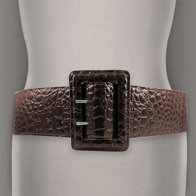 Belt - Elastic - Embossed Croc - Brown - Size : ML - BLT-BE156BN-ML