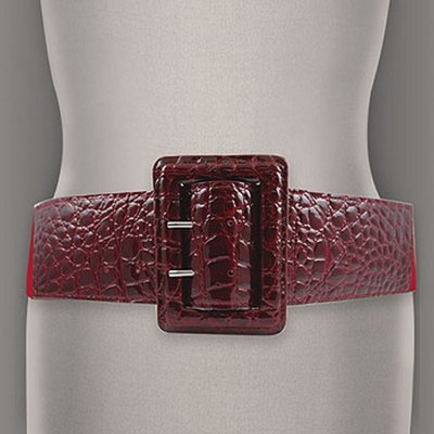 Belt - Elastic - Embossed Croc - Red  - BLT-BE156RD