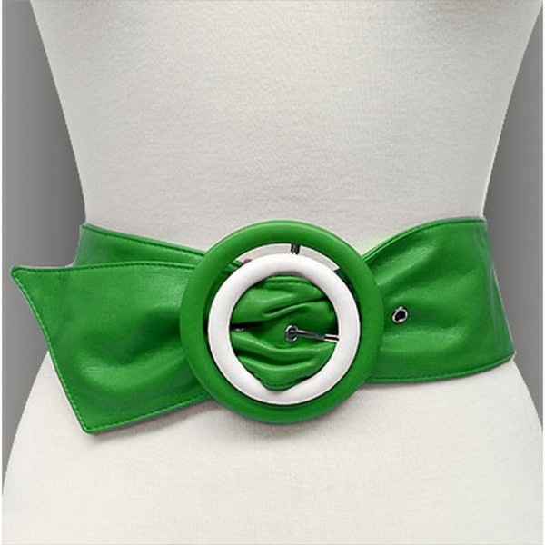 Soft Leather w/ Double Two Tone Circle Buckles - Green -  BLT-BE227GN-ML