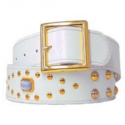 Jeweled Studded Belt - Whhite - Size : S - BLT-CB17925WT-S