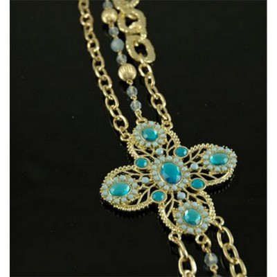 Chain Belt - Beaded w/ Jeweled Buckle -Blue - BLT-T1368BL