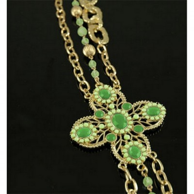 Chain Belt - Beaded w/ Jeweled Buckle - Green - BLT-T1368GN