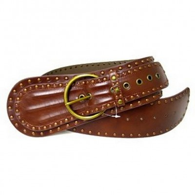 Metal Studed Belt - Brown - BLT-TO30011BR