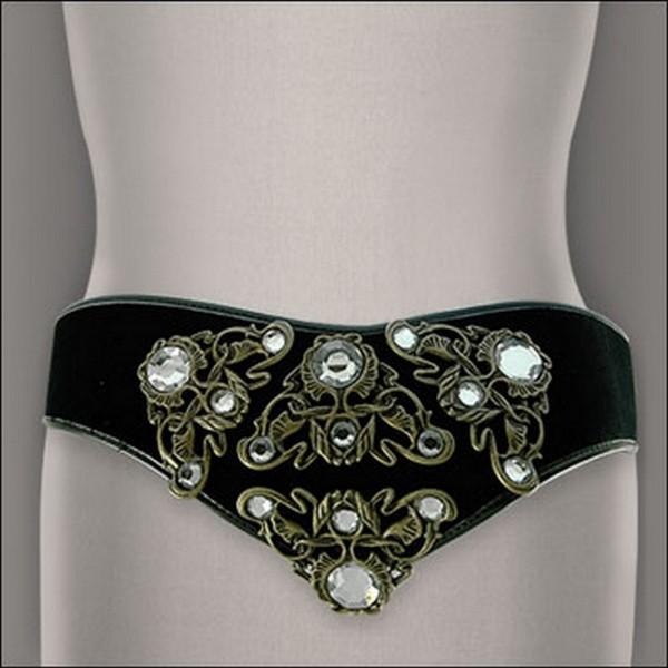 Velvet w/ Studded Belt - Black  - Size : M - BLT-TO30332B-M