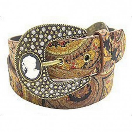 Studded w/ Jeweled Cameo Buckle - Brown - Size : M - BLT-TO31097BN-M