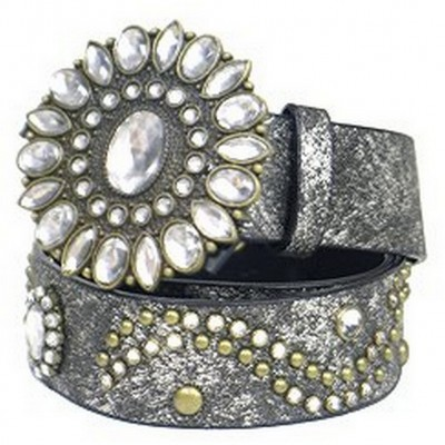 Glitter Jeweled & Studded W/Jeweled Buckle - Size : M - Black - BLT-TO31151BK-M