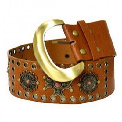 Jeweled & Metal Disc Belt - Brown - BLT-TO40016BR