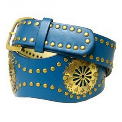 Leather Like Metal Studded Belt - Green - BLT-TO40036GN
