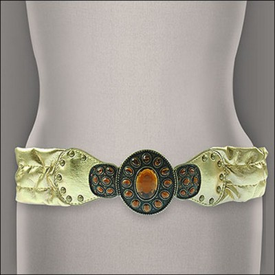 Metallic Stretchable Belt - Gold - BLT-TO40136G