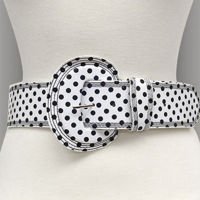 Belt - Polka Dots - White - BLT-TO40163WT